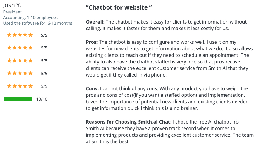 A 5-star Chatbot Review