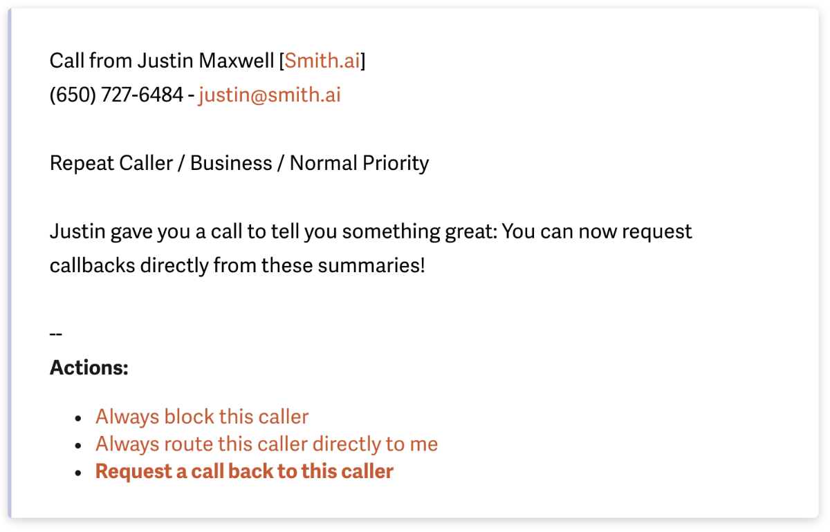 New! Request a Call-Back from Your Smith.ai Call Summary or Dashboard