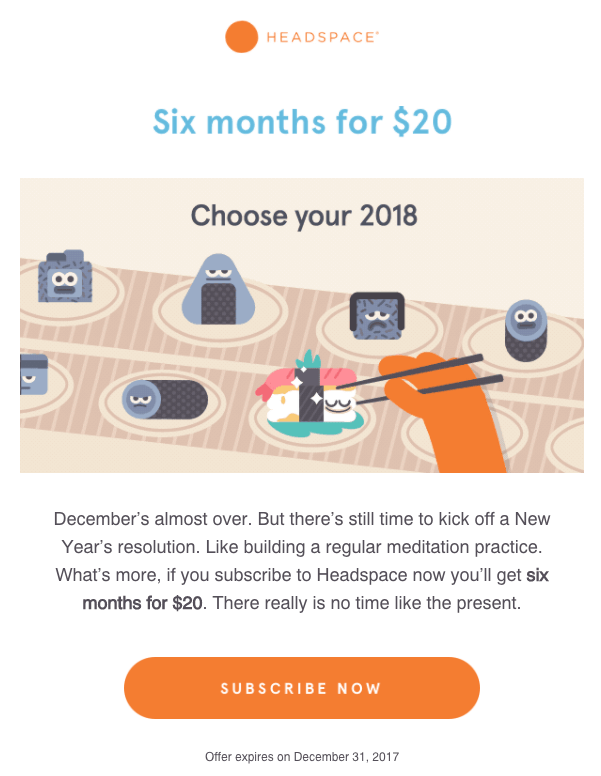 Headspace example of marketing email with graphics
