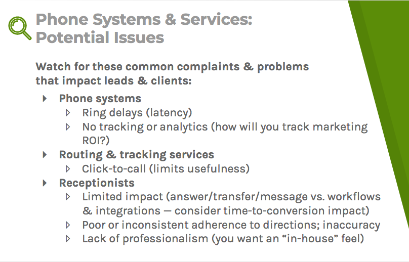 Common complaints for phone systems, routing and tracking services, and receptionists