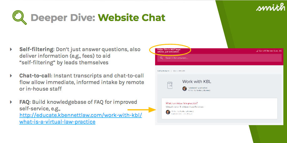 Web chat can also help with self-filtering, chat-to-calls, and FAQ building