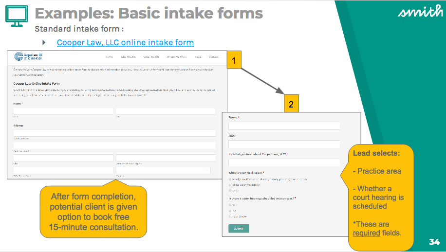 Example of a basic intake form from Cooper Law