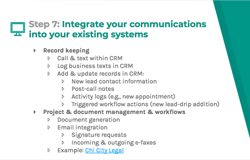Integrate your communications into your existing systems with record keeping and project/document management