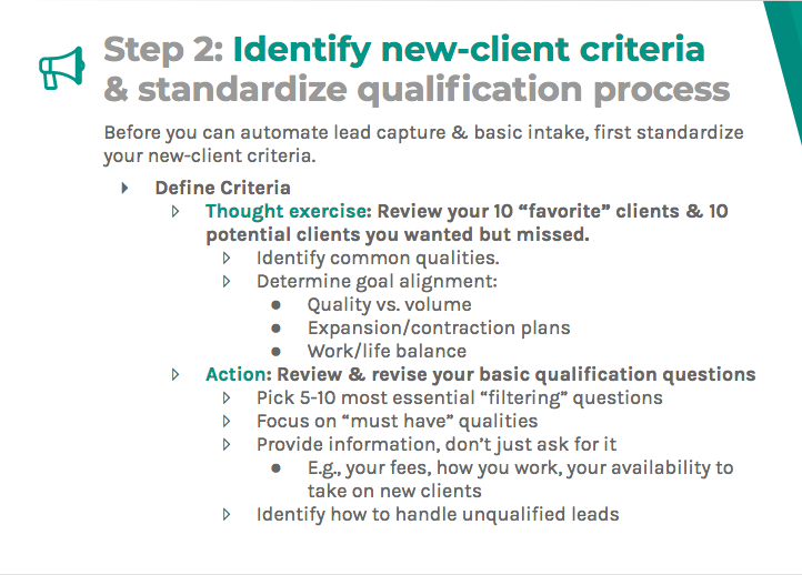 Identify new client criteria and standardize qualification process