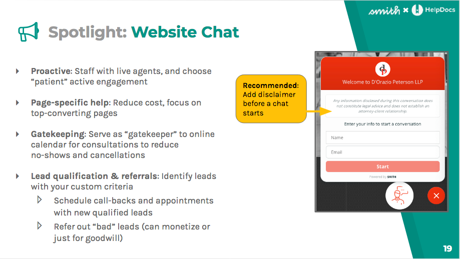 Web chat is great for gatekeeping, page-specific help, and lead qualification and referrals