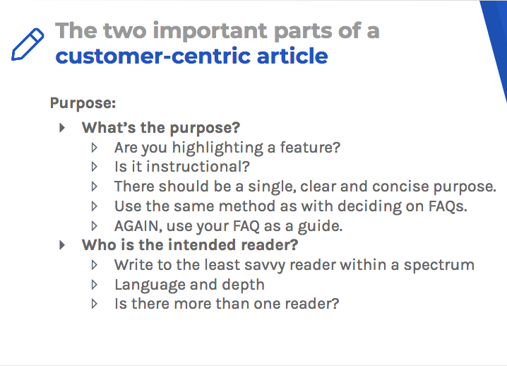 Customer-centric articles should highlight your purpose and your intended reader