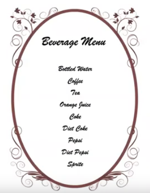 Beverage menu example