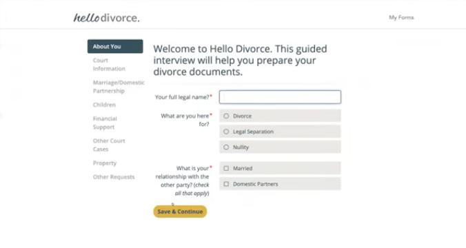 HelloDivorce's basic intake questionnaire