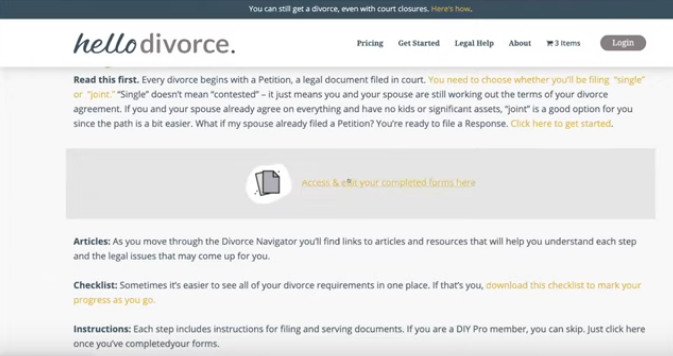HelloDivorce access or edit forms page