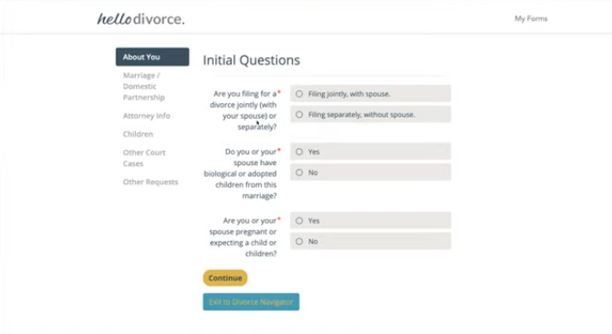 HelloDivorce intake questionnaire page