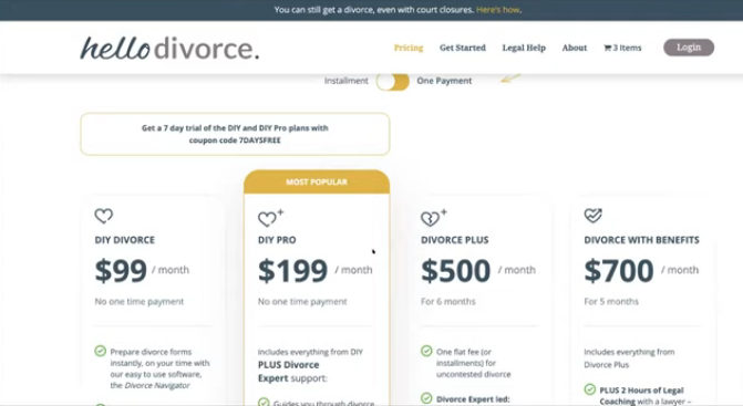 HelloDivorce plans and pricing