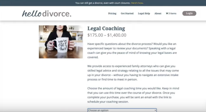HelloDivorce legal coaching prices