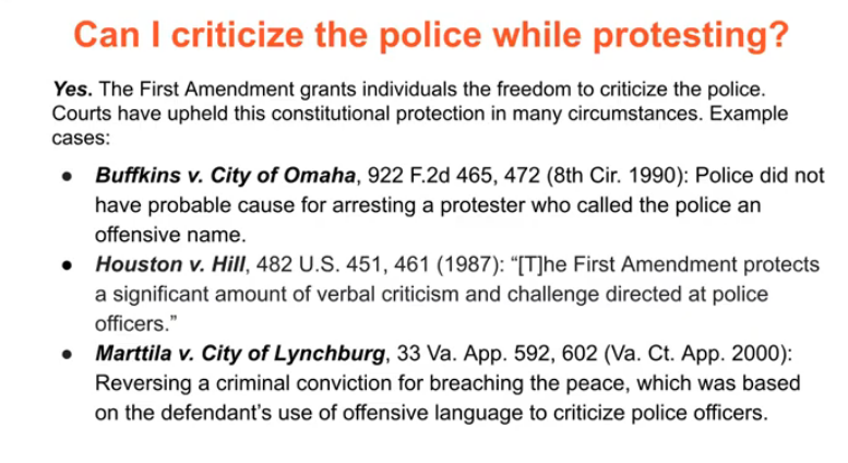 Can I criticize the police while protesting? Absolutely.