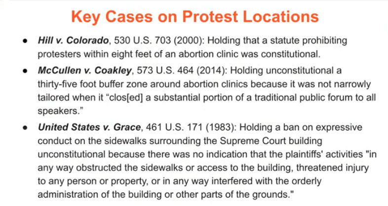 Key cases on protest locations