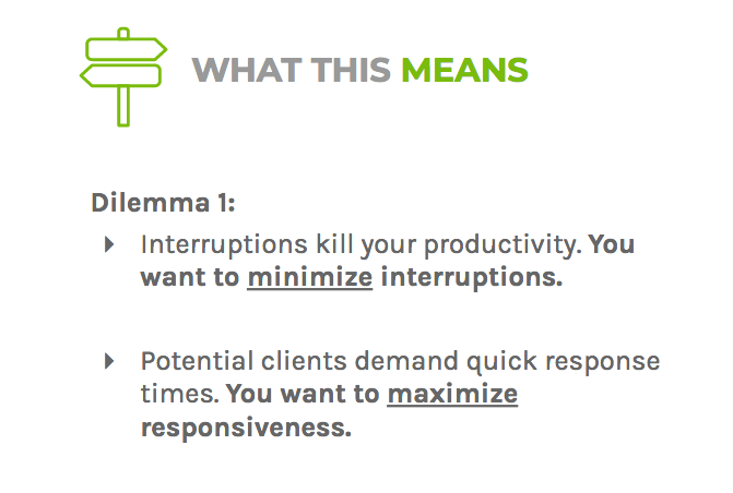 Dilemma one says you should limit interruptions and respond quickly to potential clients
