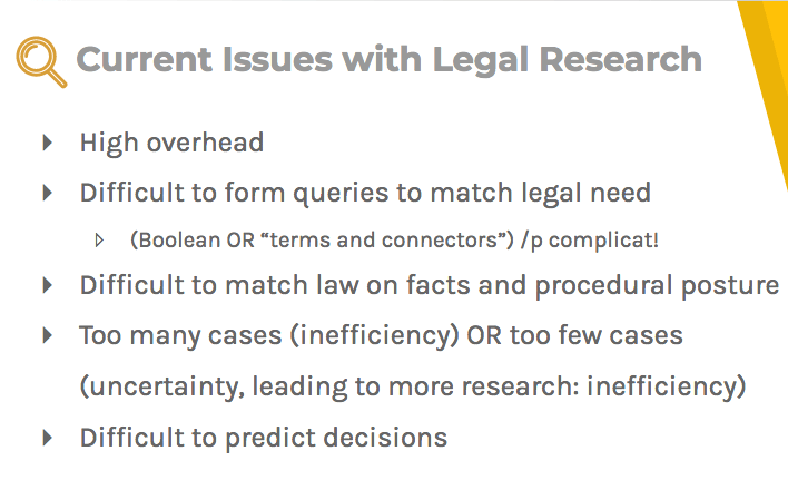 Current issues with legal research: high overhead, difficult form queries, and difficult predictions