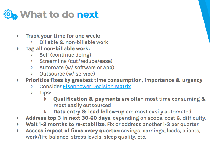 What to do next: track your time, tag non-billable work, and prioritize fixes