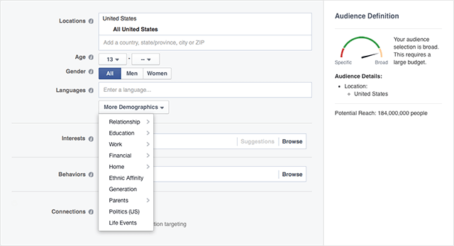 Defining your audience on Facebook