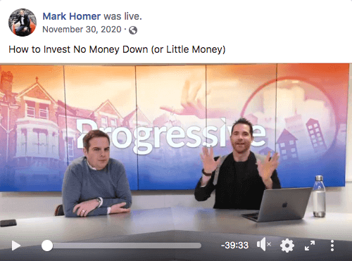 Example of a Facebook Live from Mark Homer's page