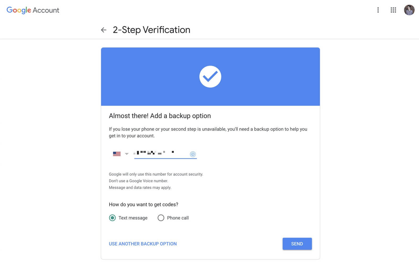 Google two-step verification
