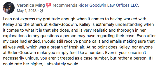 Example of a review left for Kelley Rider Goodwin on Facebook