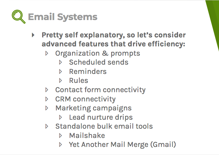 Email systems with advanced features can drive efficiency