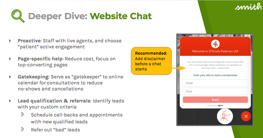 Web chat can be proactive, provide page-specific help, act as a gatekeeper, and help with lead qualification and referrals
