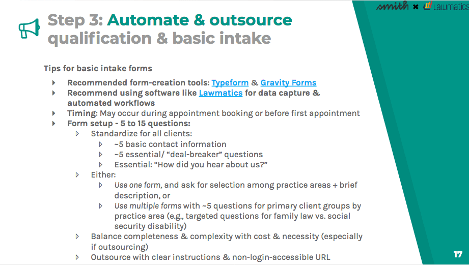 Automate and outsource qualification and basic intake