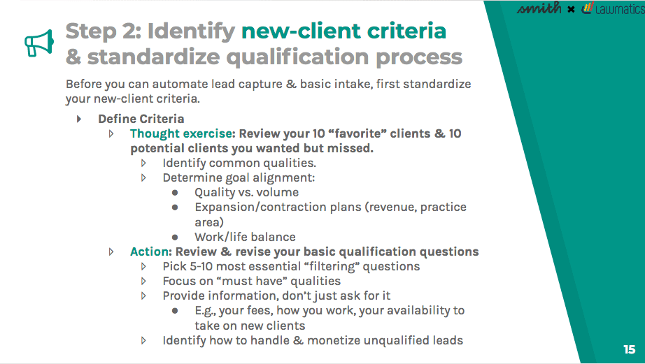 Identify new-client criteria and standardize the qualification process