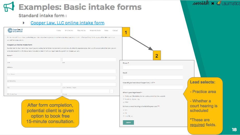 Example of a basic intake forms