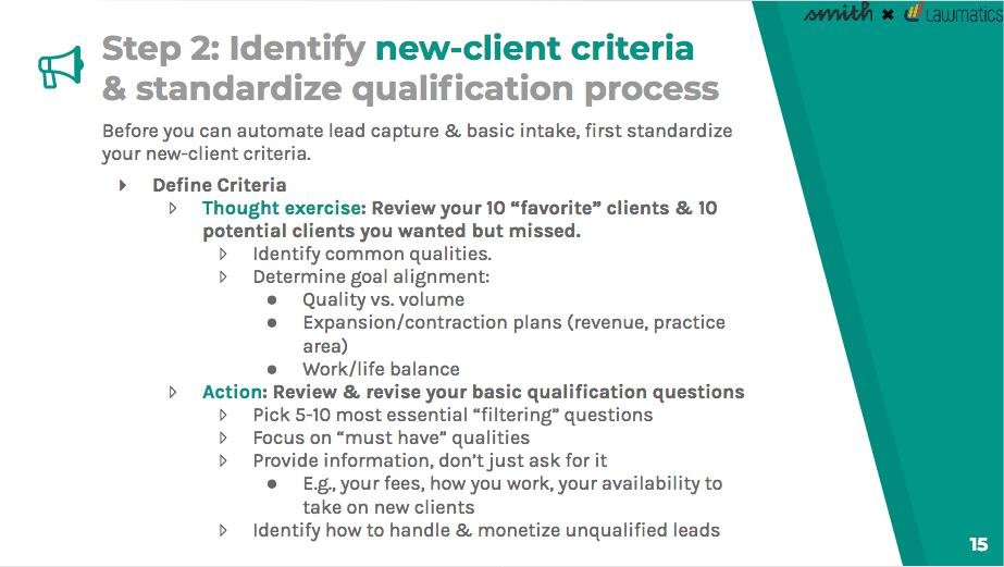 Identify new-client criteria
