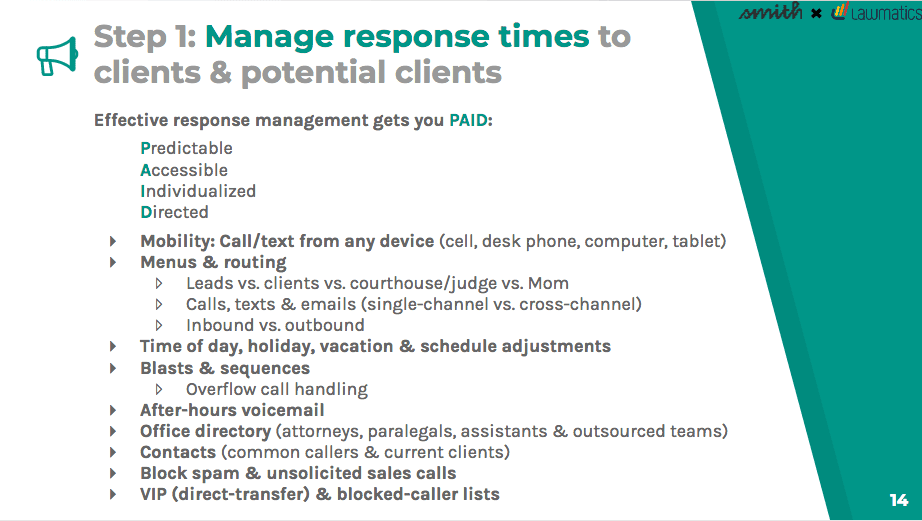 Manage response times to clients and potential clients