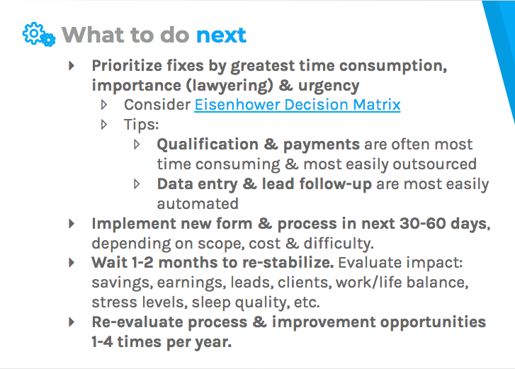 Prioritize the fixes, implement a new process, and re-evaluate