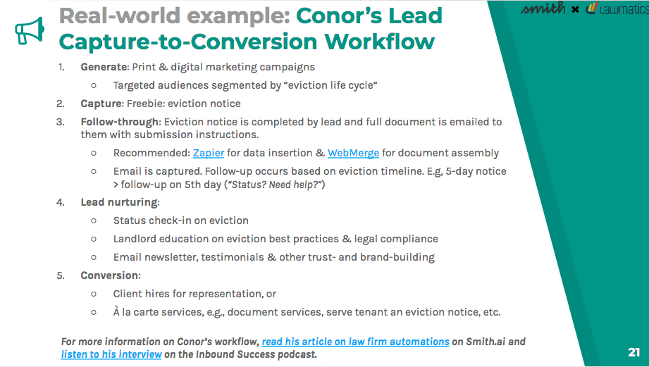 Conor Malloy's example lead capture-to-conversion workflow