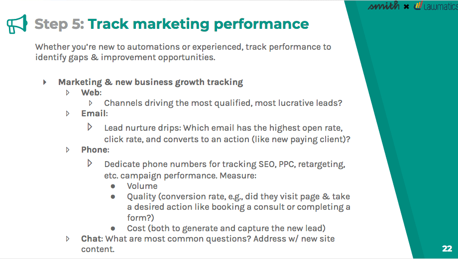 Track marketing performance to identify gaps and improvement opportunities