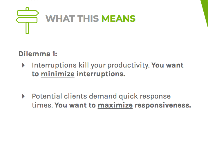 Dilemma one says that interruptions kill productivity and that leads demand a quick response