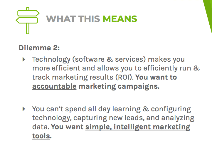 Dilemma two says that using simple and intelligent marketing technology makes you more efficient