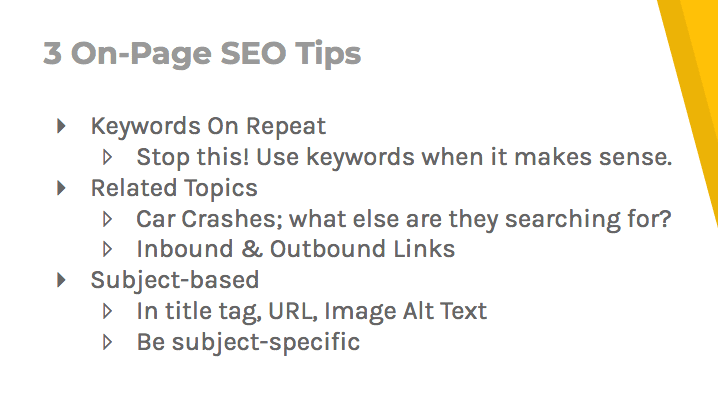 Three on-page SEO tips: don't repeat keywords, use related topics, and be subject-specific