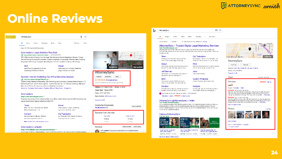 Example of online reviews and where to find them