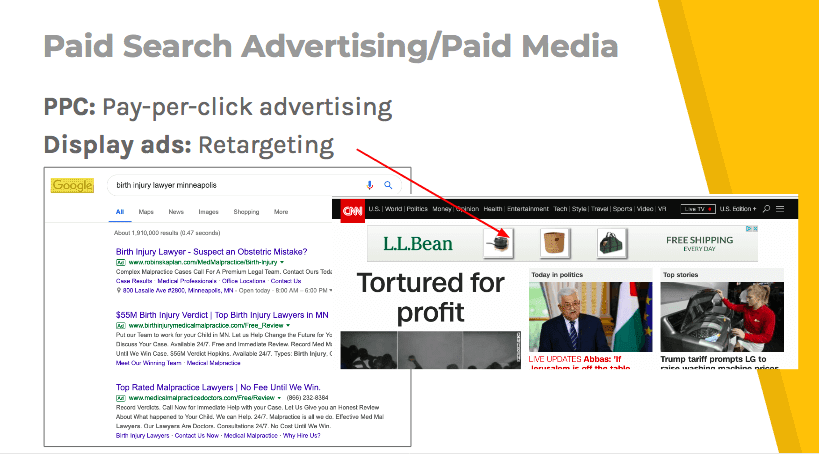 Example of paid search advertising and paid media