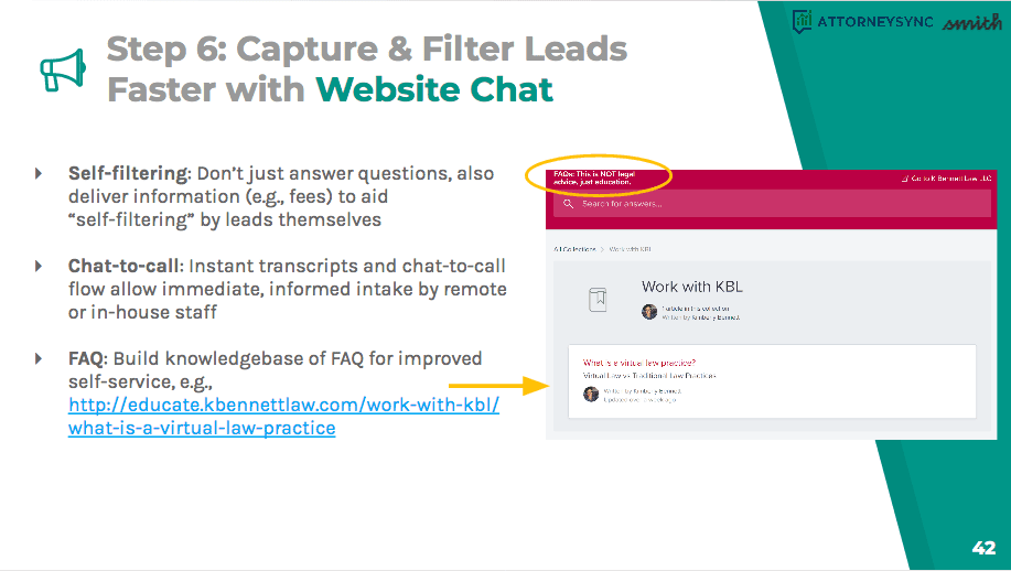 Have leads self-filter themselves and use chat-to-call and FAQ to automate lead screening