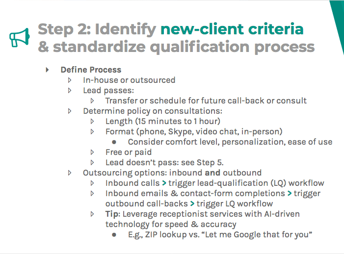 Identify new client criteria and standard