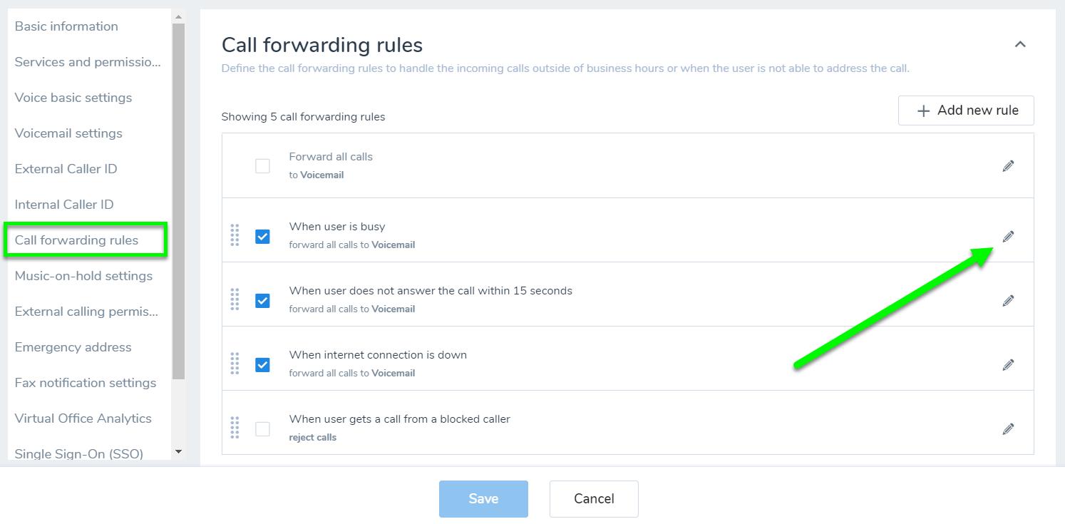 8x8 call forwarding rules editing