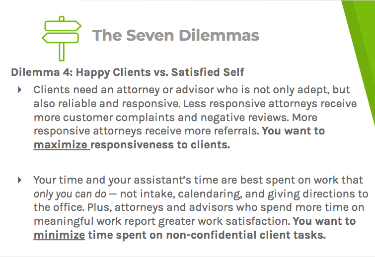 Dilemma four says advisors and lawyers struggle to provide the kind of responsiveness their clients demand