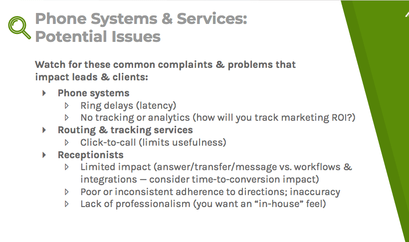 Common complaints with phone systems, routing and tracking services, and receptionists