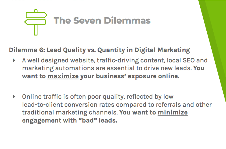 Dilemma six says that online exposure should be a priority and that engagement with unqualified leads should be limited