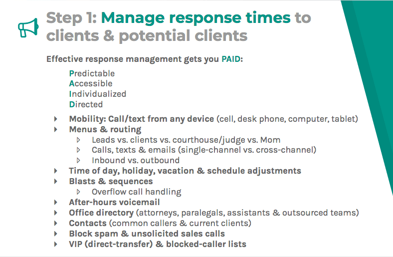 Manage response time to clients and potential clients