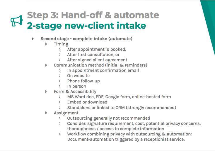 Automate new client intake