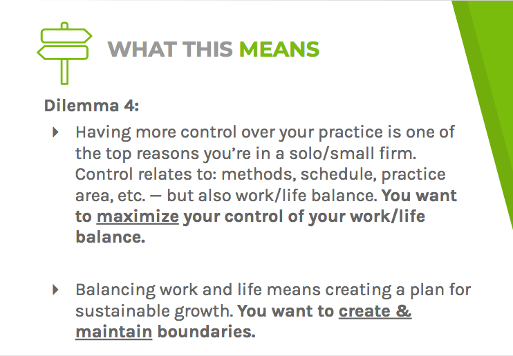 Dilemma four says lawyers can gain a better work-life balance through setting boundaries