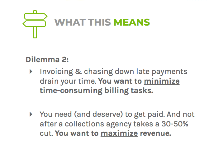 Dilemma two says lawyers deserve to get paid, but they shouldn't waste their time chasing down late payments